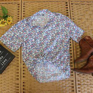 Vintage Block Print Floral Cotton Button Down M